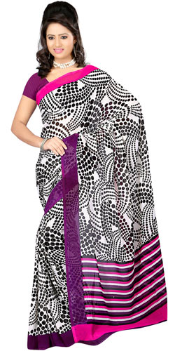 Classic Dani Georgette Saree with the Touch of Black and White Colour