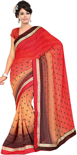 Glorious Fire Orange, Cream and Brown in Shades Georgette Printed Saree