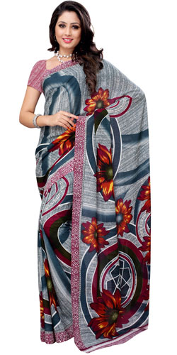 Appealing Renial Georgette Printed Saree in Teal and White Colour Combination