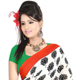 Gorgeous White Shaded Dani Georgette Printed Saree with Floral Decors