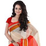 Sophisticated Beige and Red Coloured Georgette Printed Saree