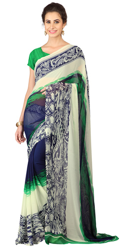 Impressionable Weightless Georgette Floral Printed Saree Green and Blue in Shade