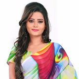 Enthralling Multicoloured Digital Printed Georgette Saree