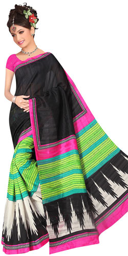Enticing Multi Coloured Royal Printed Saree in Art Silk Fabric