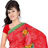 Stylish Women's Printed Georgette Saree from Suredeal