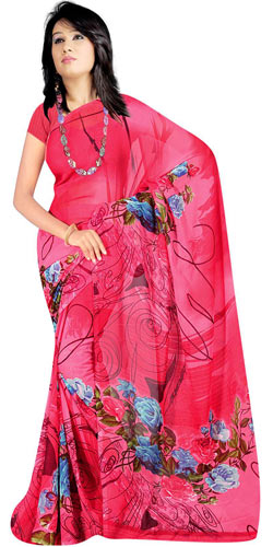 Trendsetting Georgette Fabric Printed Saree from Suredeal