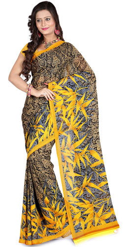 Ornate Pomp Faux Georgette Saree