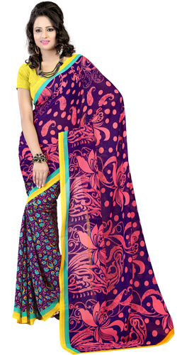 Flowery Peach Faux Georgette Saree