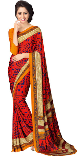 Posh Faux Crepe Saree