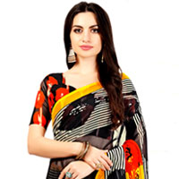Fancy Party-wear Faux Chiffon Striped Sari in Black Color