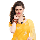 Attractive Chiffon Cotton Embroidered Salwar Kameez in Yellow Colour