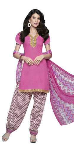Impressionable Pink Coloured Pure Cotton Printed Patiala Suit
