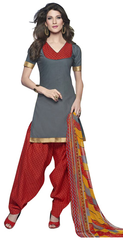 Outstanding Cotton Printed Patiala Suit Coloured in Grey and Red