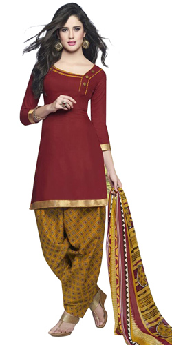 Eye-Catching Red and Yellow Shaded Cotton Printed Patiala Suit