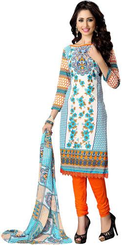 Trendsetting Women Printed Cotton Multicolour Suit by Suredael