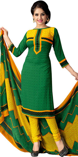 Classy Colour Co-Ordinated Printed Art Silk Suit