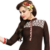 Exotic Brown Printed Suit in Cotton Fabric