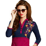 Sizzling Cotton Printed Maroon and Blue Colour Suit