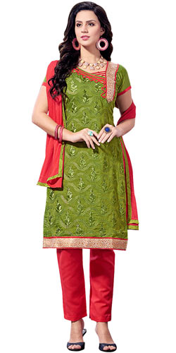 Mind-Blowing Chanderi Printed Salwar Suit