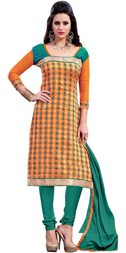 Exulting Peach Chanderi Salwar Suit