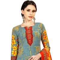 Remarkable Floral Design Spun Cotton Salwar Suit for Fashionable Ladies