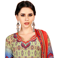 Pretty Ladies Fancy Spun Cotton Floral Salwar Suit Set