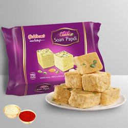 Soan Papdi from Haldiram with free Roli Tilak and Chawal.