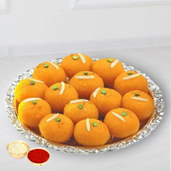 Haldiram tasty Pure Ghee Laddu  with free Roli Tilak and Chawal.