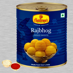 Haldiram Raj Bhog with free Roli Tilak and Chawal.