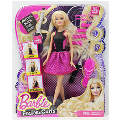 Gorgeous Barbie Blonde Endless Curls Hair Doll