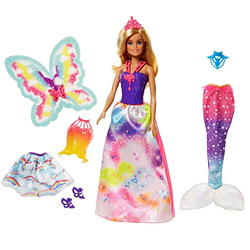 Attractive 3-in-1 Rainbow Fantasy Barbie Doll Set from Mattle for Little Princess
