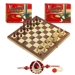 Chess with Rakhi with Nutties and Roli Tilak Chawal