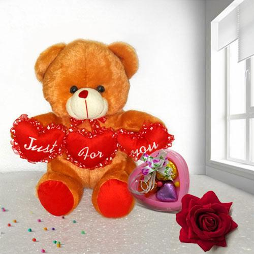 Fluffy Brown Teddy, Heart Chocolate N Red Rose for V-Day