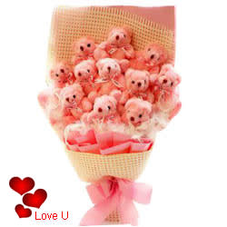 Mesmerizing Bouquet of Pink Teddies