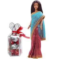 Delicious Gift of Homemade Chocolates with Indian Barbie for Baby Girl