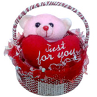 Superb Gift of Teddy in a Basket with Sweet Love