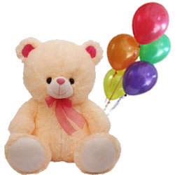 Soft Cuddly Love Teddy Bear with Brightly Coloured Balloons