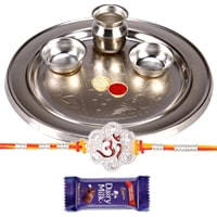 Silver Plated Rakhi Thali with One or More Rakhi Options