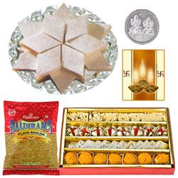 Kaju Katli, Assorted sweets with Bhujia