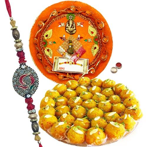 Fancy Beaded Rakhis with Thali and Sweet Paradise