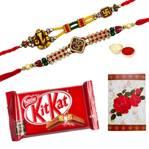 Exclusive 2 or More Designer Ethnic Rakhi and Chocolates with Celebration