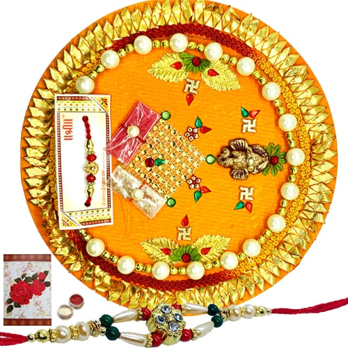 Graceful Thali and Rakhi with Beautiful Handmade Card