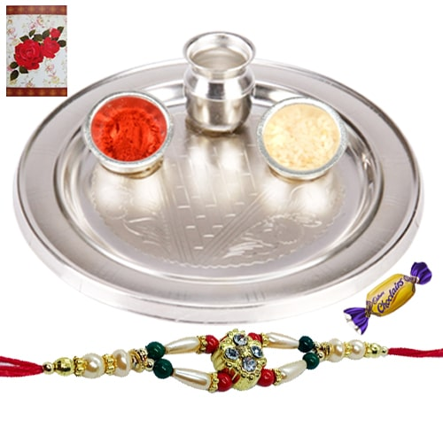 Stunning Silver Thali with Choco Delight and Rakhi