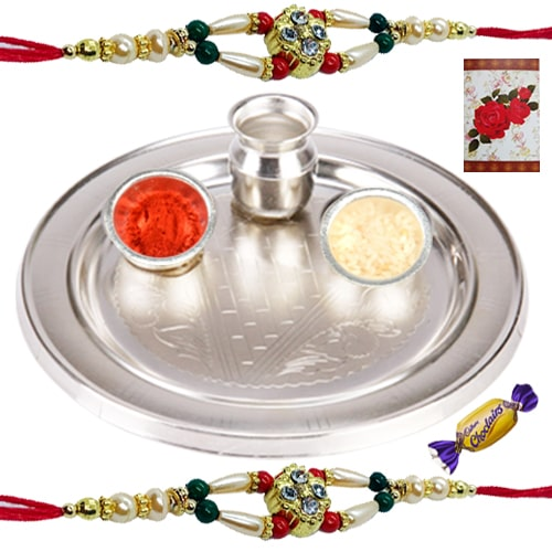 Admirable Silver Thali with 2 Band of Rakhis and Chocolates