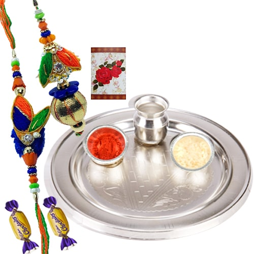 Wholesome Affection of 2 Chocos with Silver Thali and Bhaiya Bhabhi Rakhi