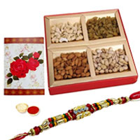 One or More Designer Ethnic Rakhi with with Dry fruits<br /><font color=#0000FF>Free Delivery in USA</font>