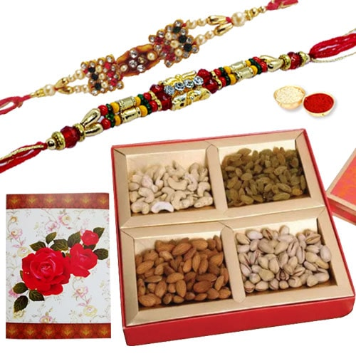 2 or more Designer Ethnic Rakhi with Dry fruits�<br /><font color=#0000FF>Free Delivery in USA</font>