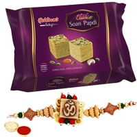 Exquisite One or More Designer Ethnic Rakhi with 250 Gms. Haldirams Soan Papri