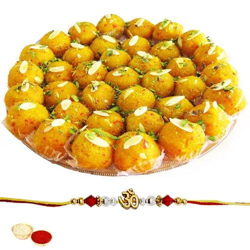 Tasty Boondi Ladoo 250 Gms. with One Ethnic Rakhi
