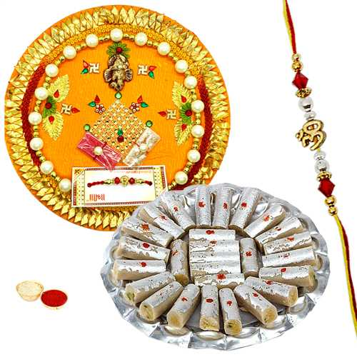 Rakhi Thali with One or More Designer Ethnic Rakhi and Kaju Pista Roll<br /><font color=#0000FF>Free Delivery in USA</font>